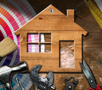 A House Surrounded By Repair Tools and PaintBrush To Symbolize Regular House Maintenance